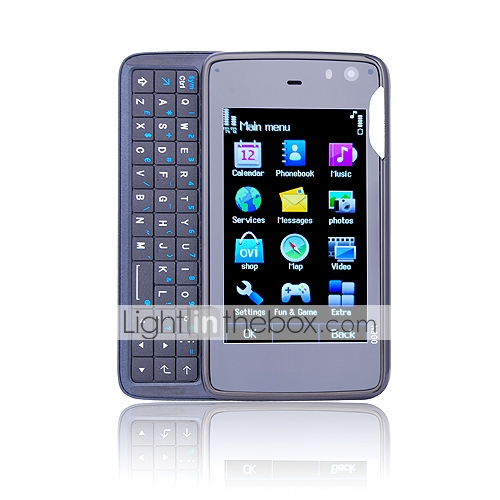 N900 Style Quad Band Dual Card Dual Camera JAVA Qwerty Keypad Cell Phone Black (2GB TF Card)