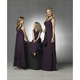 Sheath / Column V-neck Floor-length Satin Chiffon Junior Bridesmaid Dress (HSX102)