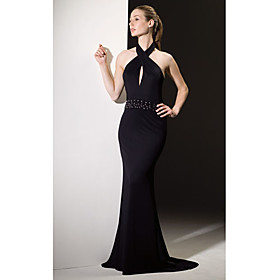 Trumpet / Mermaid Halter Court Train Chiffon Evening Dress (HSX131) - US$ 79.99