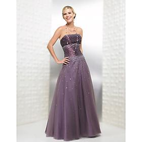 A-line Strapless Floor-length Satin Evening Dress / Prom Dress TD0904 (HSX351) - US$ 129.99