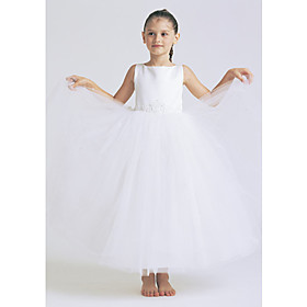 A-line Bateau Ankle-length Satin Tulle Flower Girl Dress (HSX483)