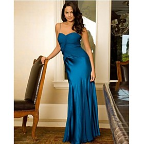 Column Spaghetti Straps Floor-length Chiffon Matte Satin Bridesmaid/ Wedding Party Dress (HSX792)