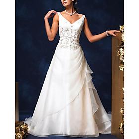 Princess V line Court Train Satin Organza Wedding Dresses for Bride HSX1144 :  princess v line court train satin organza wedding dresses for bride hsx1144