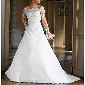 A-line Off-the-shoulder Sweep Train Satin Lace Wedding Dresses for Bride (HSX1162)