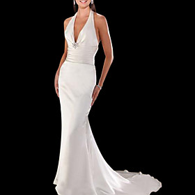 Trumpet / Mermaid Halter Court Train Satin Charmeuse Wedding Dresses for Bride (HSX1250)