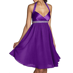 A-line Halter Knee-length Chiffon Lace Bridesmaid Dress (SHL001) - US$ 59.99