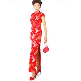 Mandarin Collar Short Sleeves Floor-Length Brocade Cheongsam / Qipao / Chinese Dress (HG056)