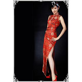 Mandarin Collar Sleeveless Ankle-length Silk Cheongsam / Qipao / Chinese Dress (HGQP107)