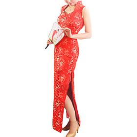 Mandarin Collar Sleeveless Floor-Length Brocade Cheongsam / Qipao / Chinese Dress (HG049)
