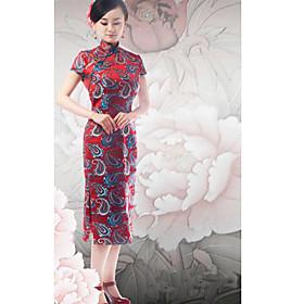 Mandarin Collar Short Sleeves Knee-length Brocade Cheongsam / Qipao / Chinese Dress (HGQP124)