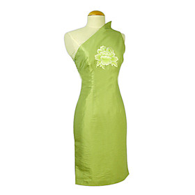 Sexy Peony Embroidery Knee-length Silk Cheongsam / Qipao / Chinese Dress (HGQP081)