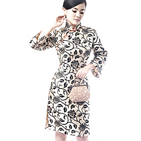 Mandarin Collar Long Sleeve Knee Length Flocking Cheongsam / Qipao / Chinese Dress (HG005)