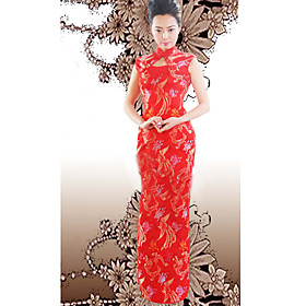 Mandarin Collar Sleeveless Ankle-length Brocade Cheongsam / Qipao / Chinese Dress (HGQP103)