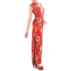 Mandarin Collar Sleeveless Floor-Length Brocade Cheongsam / Qipao / Chinese Dress (HG065)