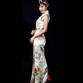 Mandarin Collar Sleeveless Ankle-length 100% Pure Silk Cheongsam / Qipao / Chinese Dress (HGQP118)