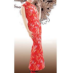Mandarin Collar Sleeveless Ankle-length Brocade Red Qipao