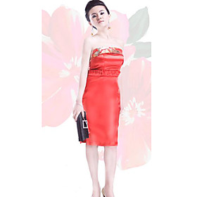 Elegant Strapless Knee-length Brocade Cheongsam / Qipao / Chinese Dress (HGQP132)