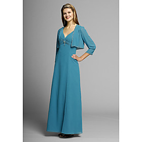 Empire V-neck Floor-length Elastic Woven Satin Chiffon Mother of the Bride Dress (MMWD011)