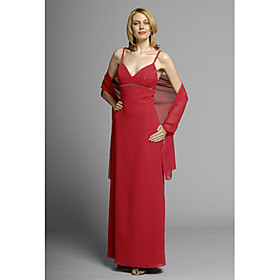 Sheath/ Column Spaghetti Straps Floor-length Elastic Woven Satin Chiffon Mother of the Bride Dress (MMWD013)