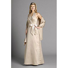 A-line Halter Floor-length Satin Mother of the Bride Dress (MMWD030)