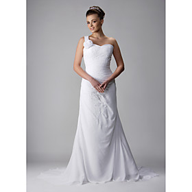 A-line One-Shoulder Chapel Train Sleeveless Chiffon Wedding Dresses for Bride / Reception Dress (WGY0042)