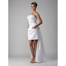 2009 Style Sheath / Column Strapless Knee-length Sleeveless Satin Wedding Dress for Bride / Reception Dress (WGY0052)