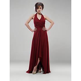 Empire Halter Floor-length Elastic Silk-like Satin Bridesmaid/ Wedding Party Dress (HSX216)
