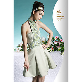 A-line Halter Short / Mini Satin Cocktail Dress / Prom Dress (OFGC0083) - US$ 99.99 :  formal halter dress