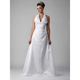 Empire Halter Court Train Sleeveless Satin Lace Wedding Dress for Bride (WGY0048)