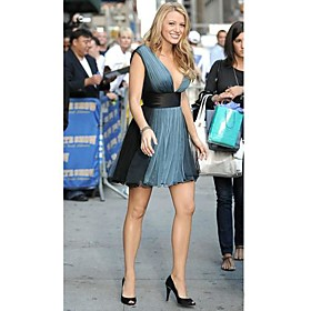 Gossip Girl Serena A line V neck Short Mini Chiffon Cocktail Celebrity Dress FSH0040 from wholesale-shopping.com