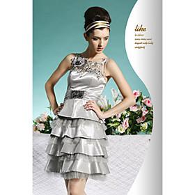 A-line Bateau Short / Mini Satin Cocktail Dress / Prom Dress (OFGC0104) - US$ 139.99