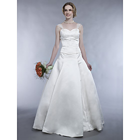 Princess Strapless Floor-length Satin Wedding Dress for Bride (WGY0038)