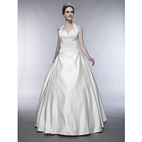 A-line Halter Floor-length Sleeveless Satin Embroidery Wedding Dresses for Bride WGY0007