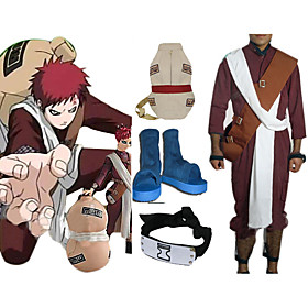 Naruto Shippuden Gaara Red Men's Cosplay Costume And Accessories Set Picture
