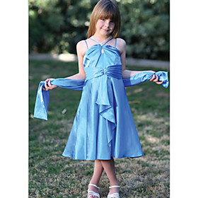A-line Spaghetti Straps  Tea-length Taffeta Flower Girl Dresses (WSW0117)