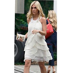 Sheath/Column Halter Mini Chiffon Bridesmaid/Cocktail/Homecoming/ Gossip Girl Fashion Dress (FSH0010) - US$ 99.99