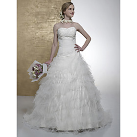 Ball Gown Sweetheart Chapel Train Satin Tulle Wedding Dresses for Bride (HSX198)
