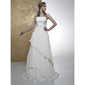 A-line Strapless Floor-length Satin Chiffon Wedding Dresses for Bride 2009 Style / Reception Dress (WSW0014)