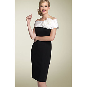 Sheath/ Column Off-the-shoulder Short/ Mini Satin Taffeta Mother of the Bride Dress (FSH0143)