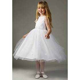 A-line Bateau Knee-length Satin Tulle Flower Girl Dress (WSW0102)
