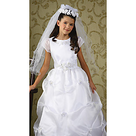 Ball Gown Scoop Floor-length Satin Organza Flower Girl Dress (WSM0076)