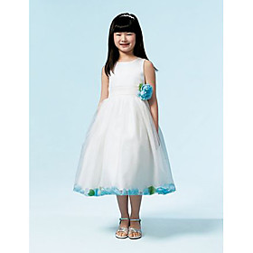 Ball Gown Scoop Tea-length Satin Organza Flower Girl Dress (WSW0244)