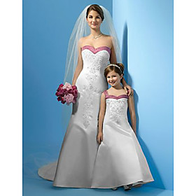 A-line Straps Floor-length Satin Flower Girl Dress (WSW0255)