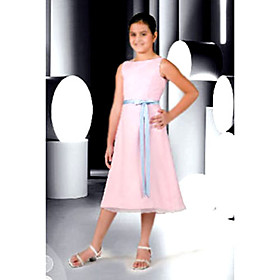 A-line Bateau Tea-length Chiffon Satin Junior Bridesmaid Dress (WSD0266)