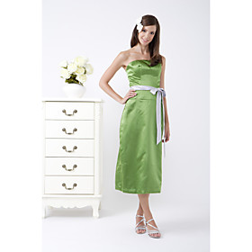 A line Strapless Tea length Satin Bridesmaid Dress HSX866 from wholesale-shopping.com