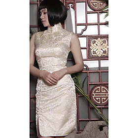 Mandarin Collar Sleeveless Knee-length Silk Tapestry Satin Cheongsam / Qipao / Chinese Dress (HGQP164)
