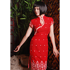 Mandarin Collar Short Knee-length Pure cotton Cheongsam / Qipao / Chinese Dress (HGQP165)