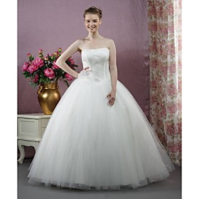 Strapless tulle wedding dress ball gown.