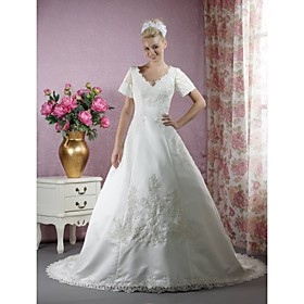A-line V-neck Court Train Satin A-line Wedding Dress (WSM0238)