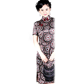 Mandarin Collar Knee-length Short Silk Cheongsam / Qipao / Chinese Dress (HGQP220)